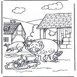 Ausmalbilder Tiere - Schweine 3