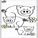 Ausmalbilder Tiere - Schweine 4