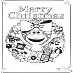 Ausmalbilder für Kinder - Sesamstraße Fröhliche Weihnachten