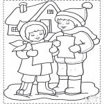 Malvorlagen Winter - Singen im Schnee 2