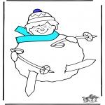 Malvorlagen Winter - Skifahren 3