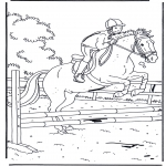 Ausmalbilder Tiere - Springen mit Pferd