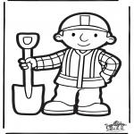 Basteln Stechkarten - Stechkarte Bob der Baumeister 2