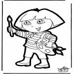 Basteln Stechkarten - Stechkarte Dora 1