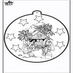 Ausmalbilder Weihnachten - Stechkarte Jozef und Maria