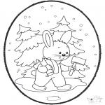 Basteln Stechkarten - Stechkarte Kaninchen