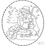 Ausmalbilder Weihnachten - Stechkarte Krippe