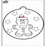 Ausmalbilder Weihnachten - Stechkarte Lebkuchenpuppe 1