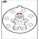 Ausmalbilder Weihnachten - Stechkarte Lebkuchenpuppe 2