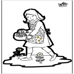 Basteln Stechkarten - Stechkarte Mädchen