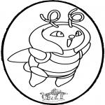 Basteln Stechkarten - Stechkarte Pokemon 1