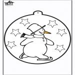 Malvorlagen Winter - Stechkarte Schneemann 1