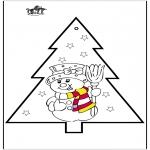 Ausmalbilder Weihnachten - Stechkarte Schneemann 2