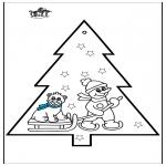 Ausmalbilder Weihnachten - Stechkarte Schneemann 3