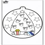 Ausmalbilder Weihnachten - Stechkarte Weihnachtsbaum 1