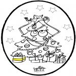 Ausmalbilder Weihnachten - Stechkarte Weihnachtsbaum 3
