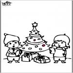 Ausmalbilder Weihnachten - Stechkarte Weihnachtsbaum 4