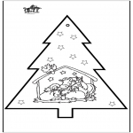 Ausmalbilder Weihnachten - Stechkarte Weihnachtskrippe 2