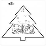 Ausmalbilder Weihnachten -  Stechkarte Weihnachtskrippe 3