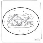 Basteln Stechkarten - Stechkarte Weihnachtskrippe