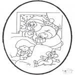 Basteln Stechkarten - Stechkarte Weihnachtsmann