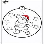Ausmalbilder Weihnachten - Stechkarte Weihnachtsmann