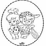 Basteln Stickkarten - Stichkarte Flintstones