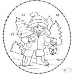 Basteln Stickkarten - Sticken Weihnachtsmädchen