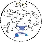 Ausmalbilder Themen - Stickkarte Baby 2