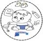 Stickkarte Baby 2
