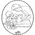 Ausmalbilder Themen - Stickkarte Baby