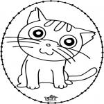 Basteln Stickkarten - Stickkarte - Katze