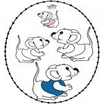 Basteln Stickkarten - Stickkarte Kleines Mäuschen