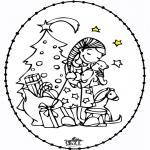 Basteln Stickkarten - Stickkarte - Mädchen und Weihnachtsbaum