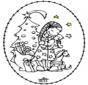 Stickkarte - Mädchen und Weihnachtsbaum