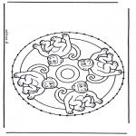 Basteln Stickkarten - Stickkarte Tieremandala
