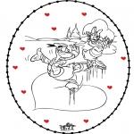 Ausmalbilder Themen - Stickkarte Valentinstag