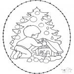 Basteln Stickkarten - Stickkarte Weihnachtsbaum