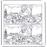 Basteln Stechkarten - Suche die Unterschiede Sankt Nikolaus