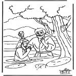 Bibel Ausmalbilder - Taufe Jesus