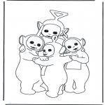 Ausmalbilder für Kinder - Teletubbies knuddeln