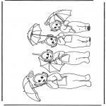 Ausmalbilder für Kinder - Teletubbies mit Regenschirm
