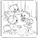 Ausmalbilder Comicfigure - Tick, Trick und Track 2