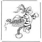 Ausmalbilder Comicfigure - Tieger als Osterhase