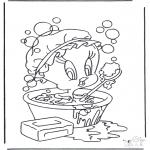 Ausmalbilder Comicfigure - Tweety in Badewanne
