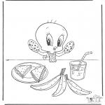 Ausmalbilder Comicfigure - Tweety isst