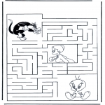 Malvorlagen Basteln - Tweety Labyrinth