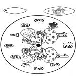 Malvorlagen Basteln - Uhr Erdbeermädchen