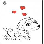 Ausmalbilder Themen - Valentin hund
