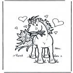 Ausmalbilder Tiere - Verliebtes Pferd